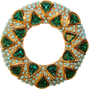 Fabulous GREEN Stone Turquoise Ball Stones Vintage Brooch