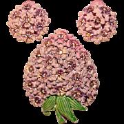 Gorgeous HYACINTH Flower Vintage Lavender Rhinestone Brooch Set