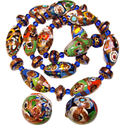 Fabulous Millefiori Glass Venetian Aventurine Bead Vintage Necklace Set