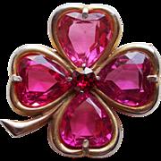Lucky 4 LEAF CLOVER Shamrock Pink Glass Vintage Brooch - Heart Shaped Stones