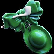 Lucky Leprechaun Hat & Pipe Vintage Green Plastic Pin Brooch