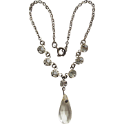 Doll Necklace - with Art Deco Era Glass Drop and Rhinestones