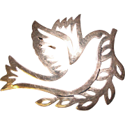 Gorgeous STERLING Peace Dove Vintage Brooch
