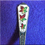 Vintage STERLING & ENAMEL Signed Maple Victorian BC CANADA Souvenir Spoon