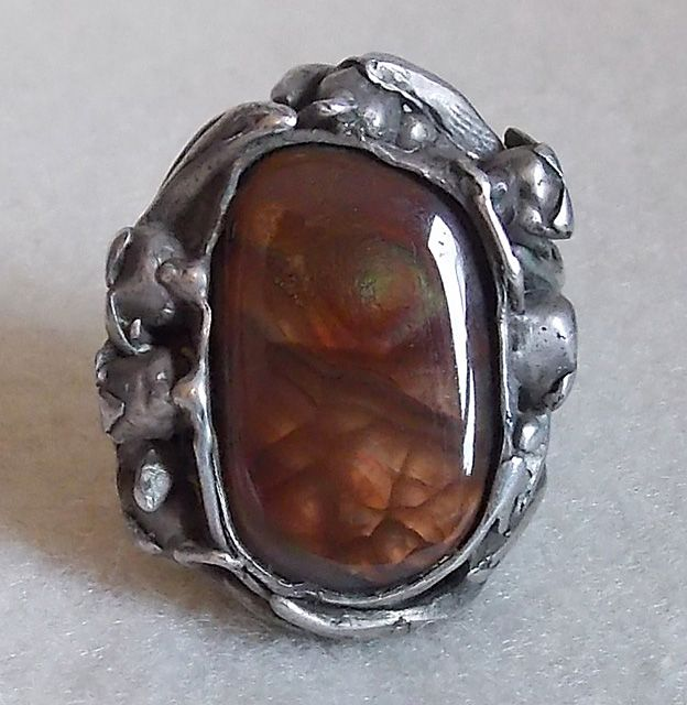 Fabulous LILY OF THE VALLEY Sterling & Fire Agate Handmade Vintage Estate Ring