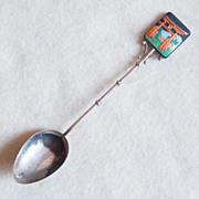 Gorgeous TOSHIKANE Signed Sterling & Porcelain Vintage Estate Spoon
