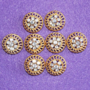 Gorgeous RHINESTONE BUTTONS Set of 8 Vintage Estate Buttons - Red Tag Sale Item