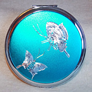 Gorgeous NACON Signed Vintage BLUE BUTTERFLY Estate Powder Compact - Red Tag Sale Item