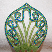 Fabulous ART DECO Green & Blue Rhinestone Celluloid Vintage Estate Hair Comb