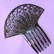Fabulous HAIR COMB Black Celluloid With Black Rhinestones