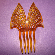 Fabulous Antique Carved Celluloid Openwork Design HAIR COMB