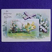 Antique CHICK PULLS EGG CART Signed Estate Postcard