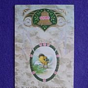 Antique HATCHING CHICK Egg & Bell Estate Postcard