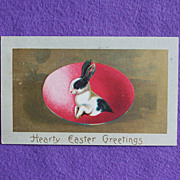 Antique RABBIT WITH EGG Easter Estate Postcard