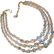 Fabulous BLUE AURORA CRYSTAL 3 Strand Vintage Estate Necklace