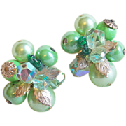 Gorgeous VENDOME Signed Green Bead & Aurora Crystal Vintage Earrings
