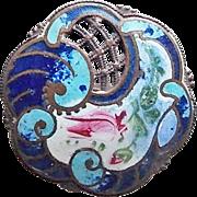 Antique Blue Enamel Victorian Estate Button