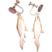 Gorgeous Mother of Pearl Vintage Carved Fish Earrings