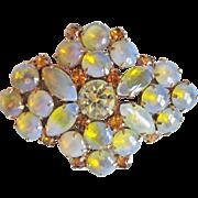 Fabulous YELLOW OPAL GLASS & Rhinestone Vintage Estate Pin Brooch