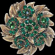 Fabulous GREEN RHINESTONE Dimensional Vintage Estate Pin Brooch