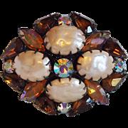 Fabulous Chocolate Brown & Amber Aurora Rhinestone Faux Pearl Vintage Pin Brooch