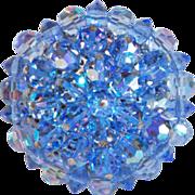 Gorgeous BLUE AURORA CRYSTAL Vintage Estate Pin Brooch
