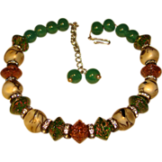 Fabulous ART GLASS & Rhinestone Bead Vintage Necklace