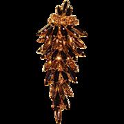 Fabulous RHINESTONE Long Navette Dangle Design Vintage Brooch