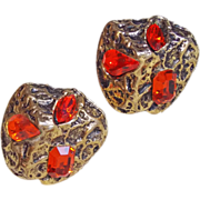 Awesome ORANGE RHINESTONE Nugget Design Vintage Estate Cufflinks