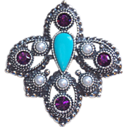 Signed SARAH COVENTRY Purple Rhinestone Turquoise Vintage Pin Brooch Pendant
