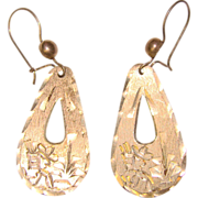 Awesome MEXICAN STERLING Vintage Engraved Siesta Agave Design Dangle Earrings