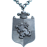 1940s Aluminum Rampant Lion HUGE Runway Vintage Estate Necklace