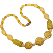 Gorgeous Art Deco CARVED Green & Cream Colored Celluloid Necklace