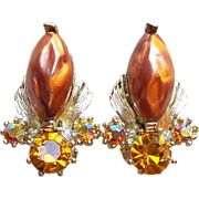 Gorgeous Amber & Amber Aurora Vintage Estate Clip Earrings