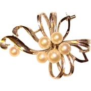 Gorgeous STERLING & PEARL Vintage Estate Brooch