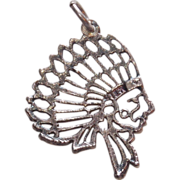 Sterling Indian Chief Head Vintage Estate Charm
