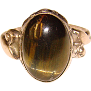Fabulous TIGER EYE Vintage Natural Stone Sterling Ring