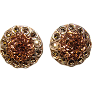 Gorgeous STERLING & GOLD WASH Marcasite Vintage Clip Earrings