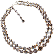 Fabulous ARUM GOLD CRYSTAL 2 Strand Vintage Estate Necklace