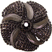 Fabulous Huge BLACK GLASS Stones Vintage Brooch