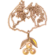 Gorgeous STERLING & CULTURED PEARL Vintage Pendant Necklace