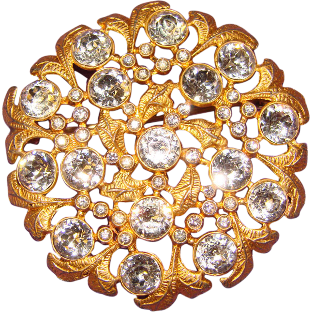 fabulous art deco dentelle cut rhinestone vintage old estate pin from jewelpigs on ruby lane