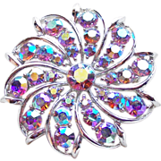 Fabulous Lavender Purple Aurora Rhinestone Vintage Estate Pin Brooch