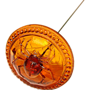Fabulous SPIDER Design Amber Glass Antique Long Hat Pin