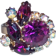 Gorgeous PURPLE & AURORA RHINESTONE Vintage Old Estate Cocktail Ring
