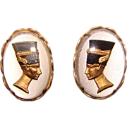 Awesome Reverse Painted Glass EGYPTIAN Design Clip Earrings