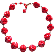 Gorgeous RED GLASS BEADS Chain Wired Vintage Estate Necklace