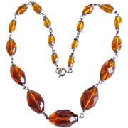 Gorgeous ART DECO Faceted Amber Brown Glass Vintage Estate Necklace
