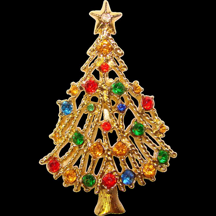Vintage Christmas Tree: Awesome Vintage CHRISTMAS TREE Rhinestone Brooch From