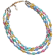 Gorgeous 3 Strand Multi Color Glass Beads Vintage Estate Necklace